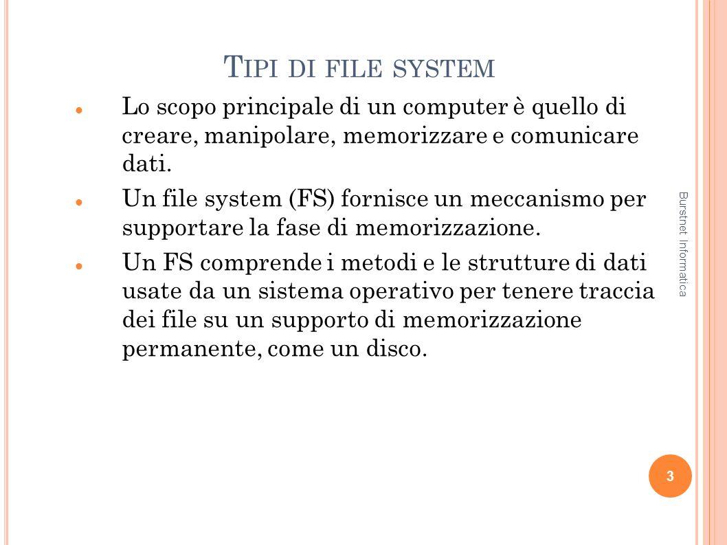 Tipi di file system Lo scopo principale di un computer è quello di creare, manipolare, memorizzare e comunicare dati.