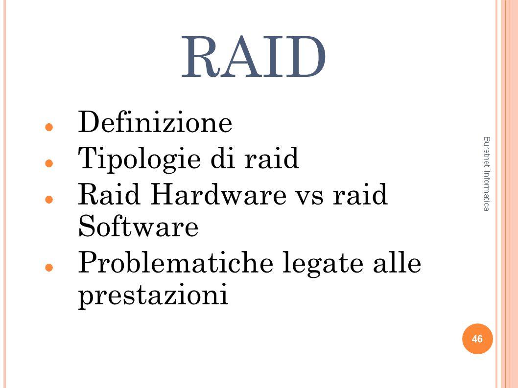RAID Definizione Tipologie di raid Raid Hardware vs raid Software