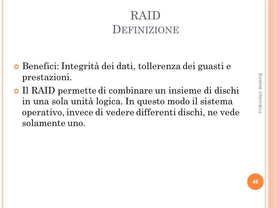RAID Definizione Benefici: Integrità dei dati, tollerenza dei guasti e prestazioni.