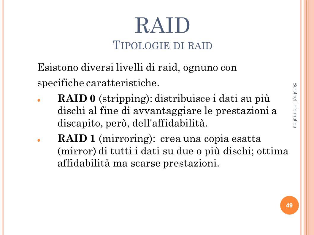 RAID Tipologie di raid Esistono diversi livelli di raid, ognuno con