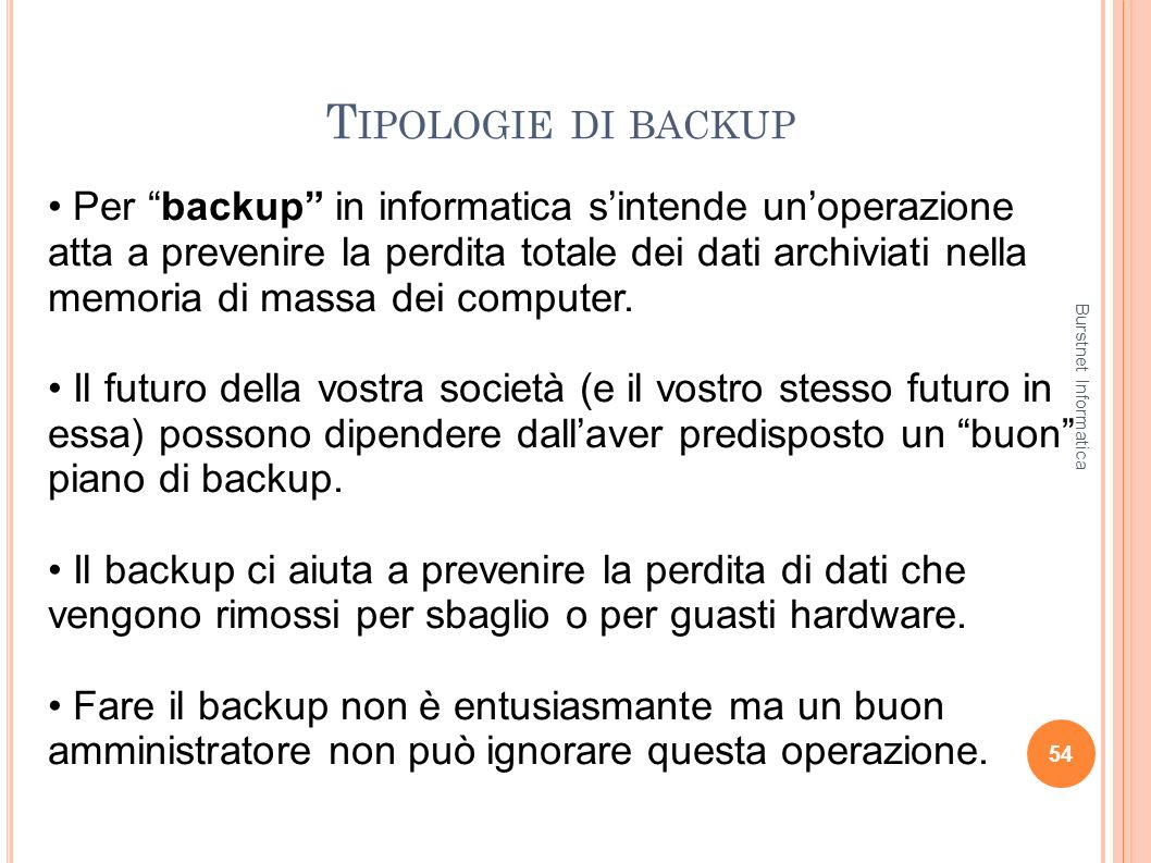Tipologie di backup