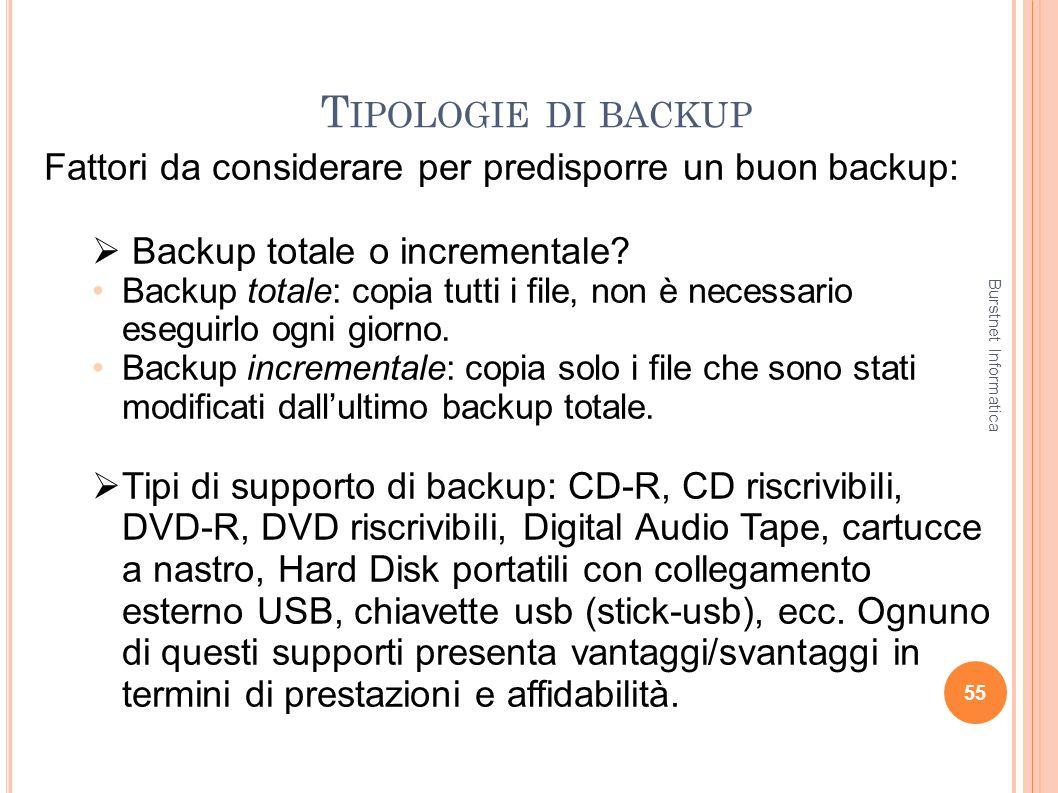 Tipologie di backup Fattori da considerare per predisporre un buon backup: Backup totale o incrementale