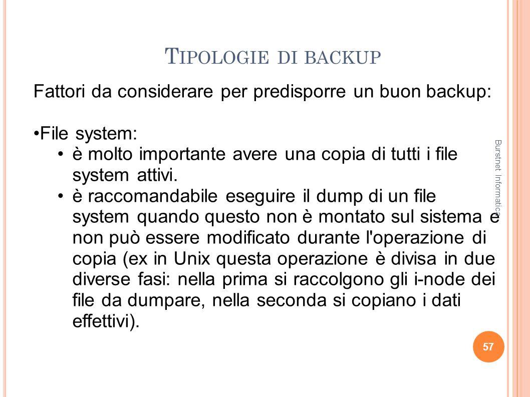 Tipologie di backup Fattori da considerare per predisporre un buon backup: File system: