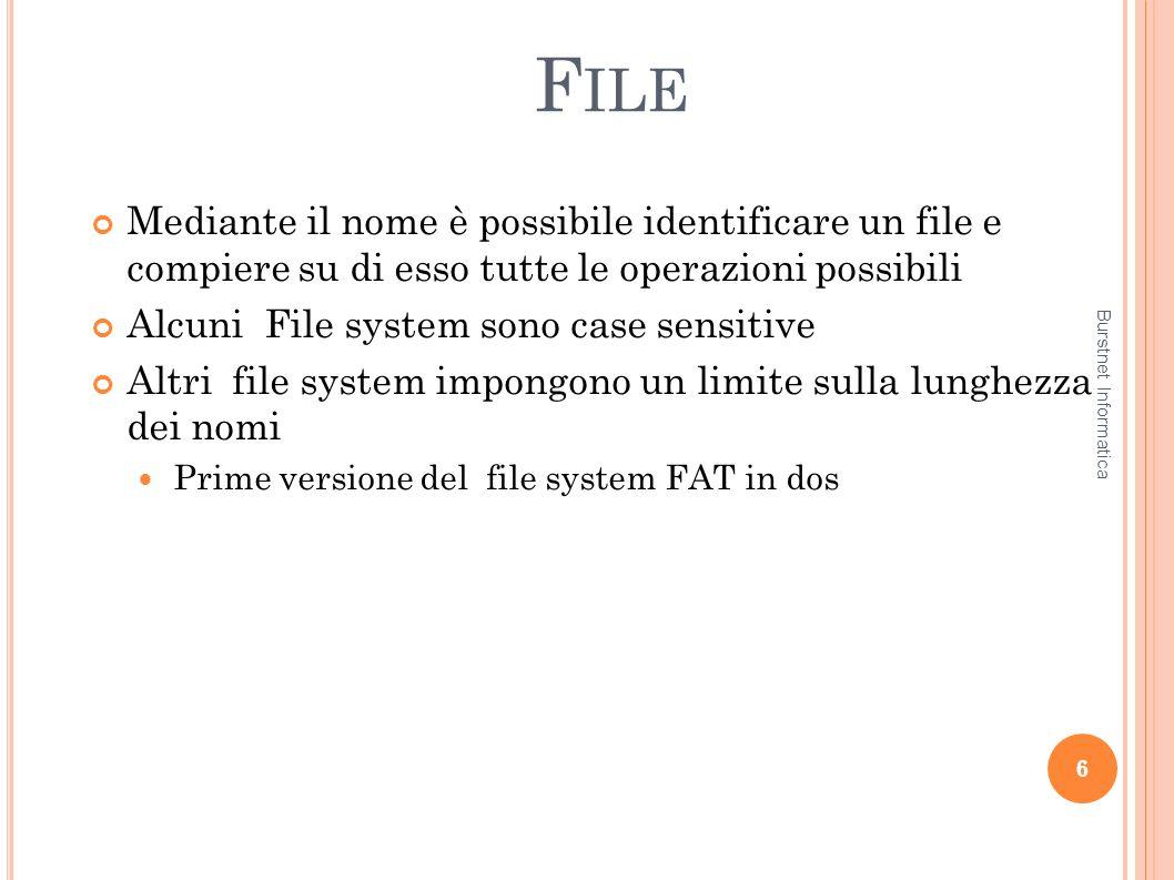 File Mediante il nome è possibile identificare un file e compiere su di esso tutte le operazioni possibili.
