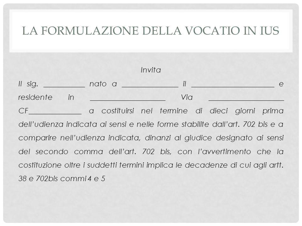 La formulazione della vocatio in ius