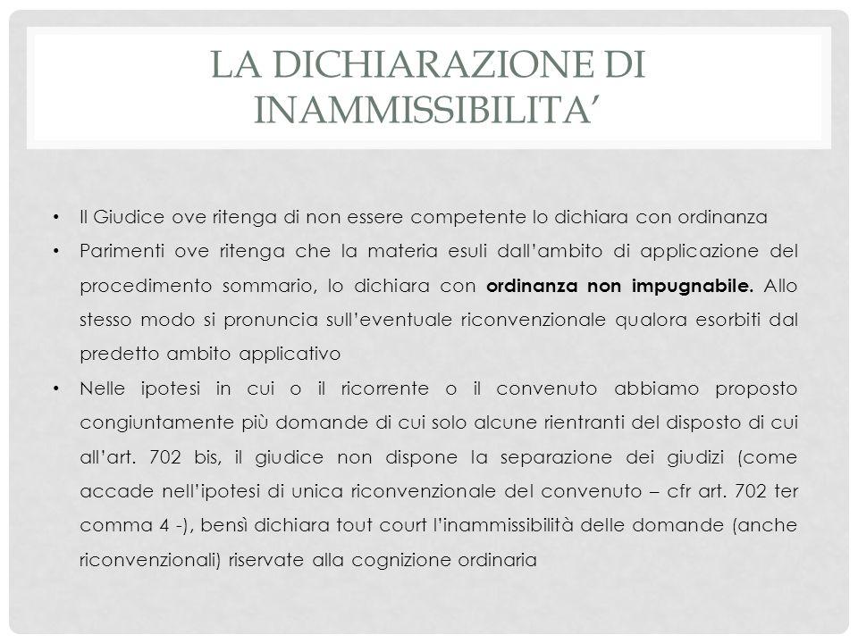 La dichiarazione di inammissibilita'