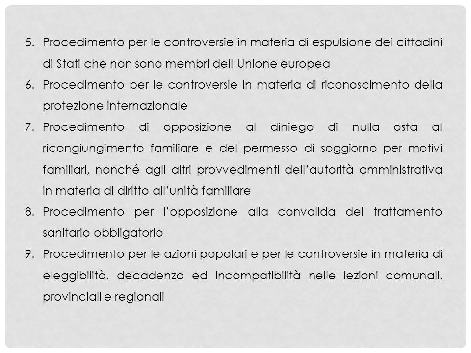 Procedimento per le controversie in materia di espulsione dei cittadini di Stati che non sono membri dell'Unione europea