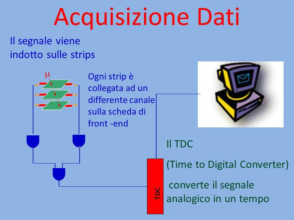 Acquisizione Dati Il segnale viene indotto sulle strips Il TDC