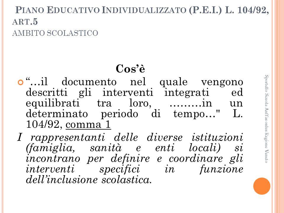 Piano Educativo Individualizzato (P. E. I. ) L. 104/92, art
