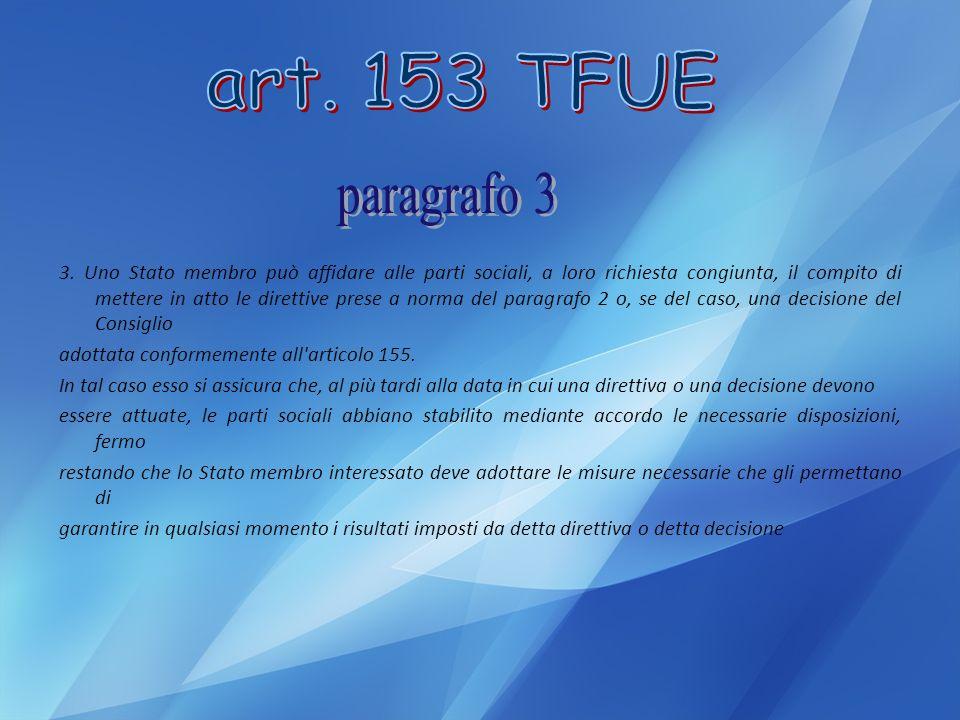 art. 153 TFUE paragrafo 3.