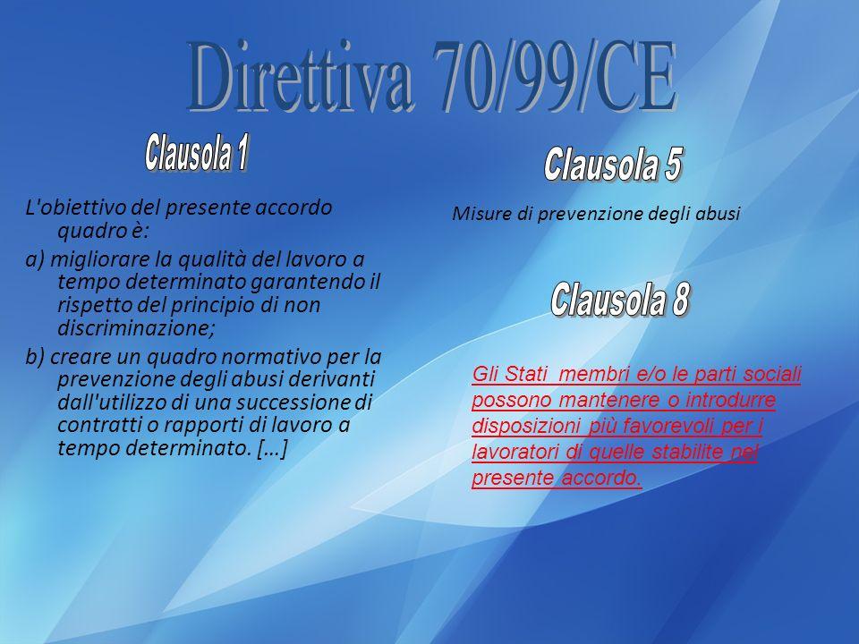 Direttiva 70/99/CE Clausola 1 Clausola 5