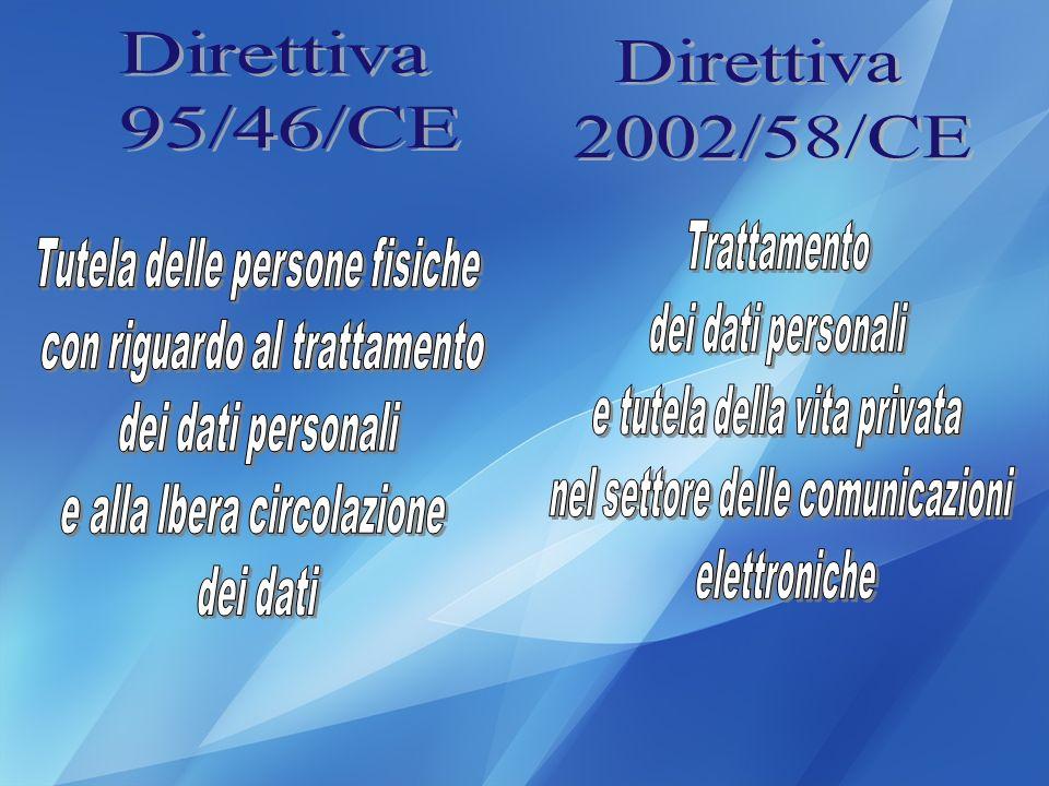 Direttiva Direttiva 95/46/CE 2002/58/CE Trattamento