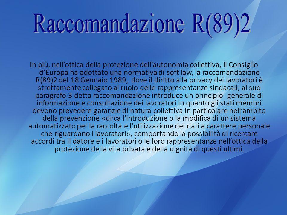 Raccomandazione R(89)2