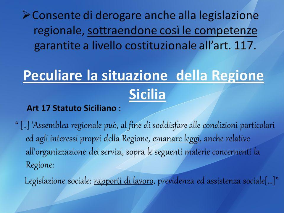 Peculiare la situazione della Regione Sicilia