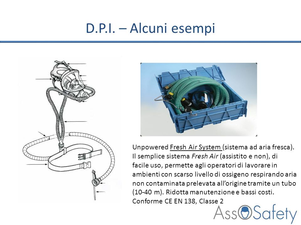 D.P.I. – Alcuni esempiUnpowered Fresh Air System (sistema ad aria fresca). Il semplice sistema Fresh Air (assistito e non), di.