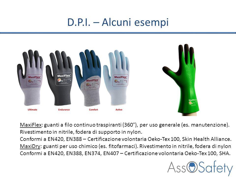 D.P.I. – Alcuni esempiMaxiFlex: guanti a filo continuo traspiranti (360°), per uso generale (es. manutenzione).