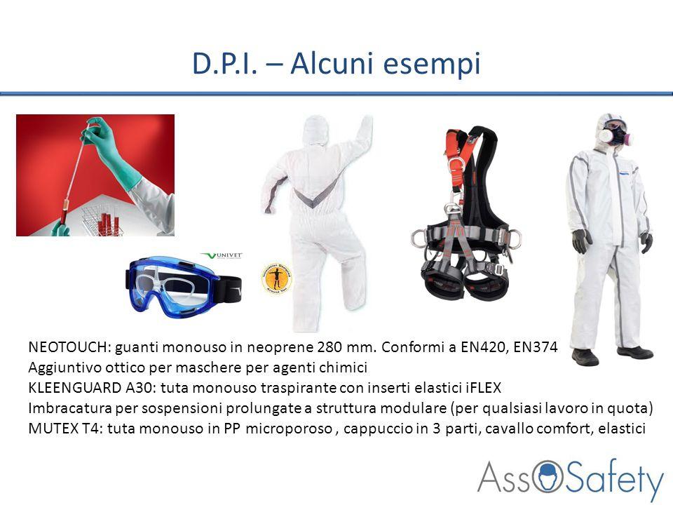 D.P.I. – Alcuni esempiNEOTOUCH: guanti monouso in neoprene 280 mm. Conformi a EN420, EN374. Aggiuntivo ottico per maschere per agenti chimici.