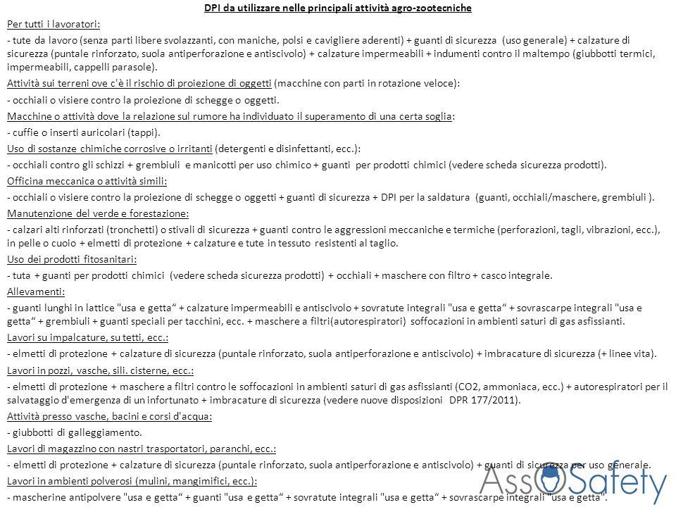 DPI da utilizzare nelle principali attività agro-zootecniche