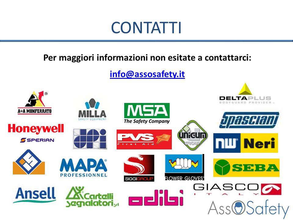 CONTATTI Per maggiori informazioni non esitate a contattarci: info@assosafety.it