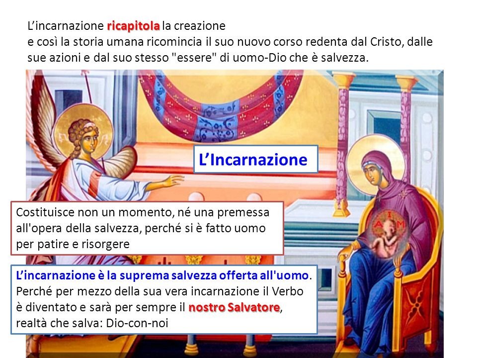 L'Incarnazione L'incarnazione ricapitola la creazione