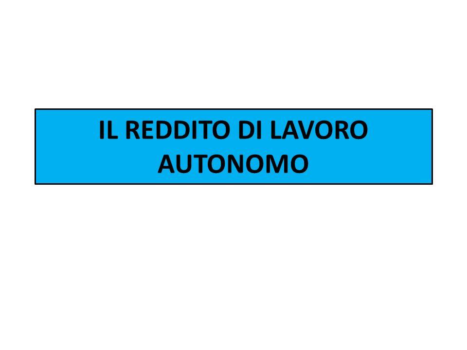 IL REDDITO DI LAVORO AUTONOMO