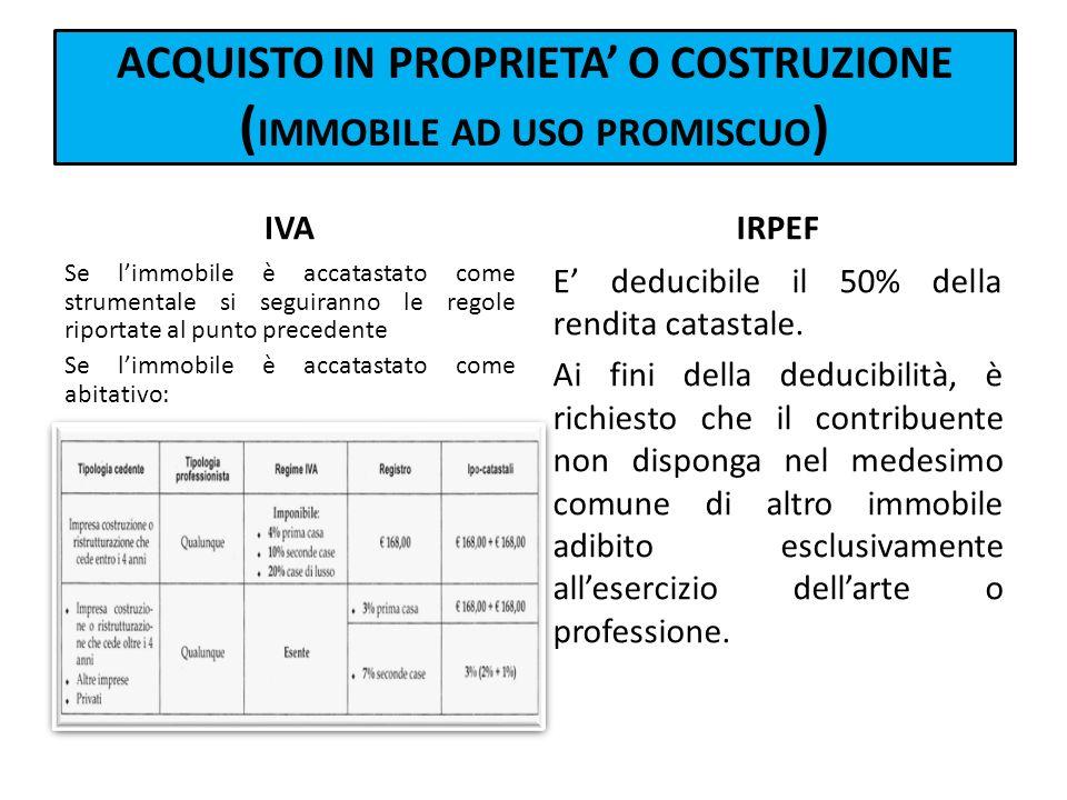 ACQUISTO IN PROPRIETA' O COSTRUZIONE (IMMOBILE AD USO PROMISCUO)