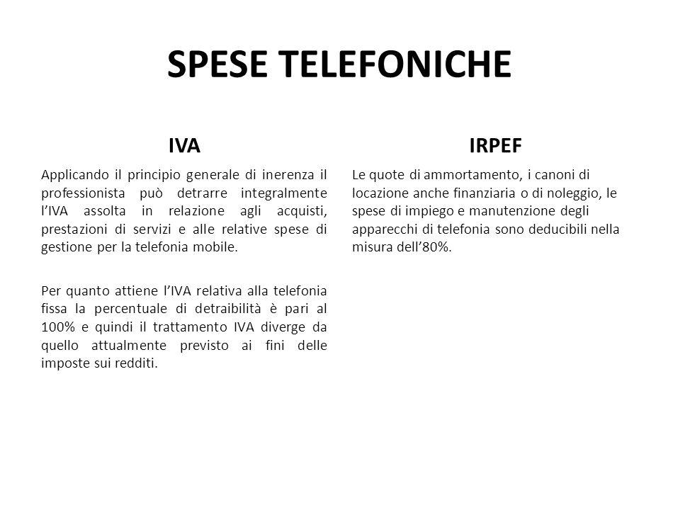 SPESE TELEFONICHE IVA IRPEF