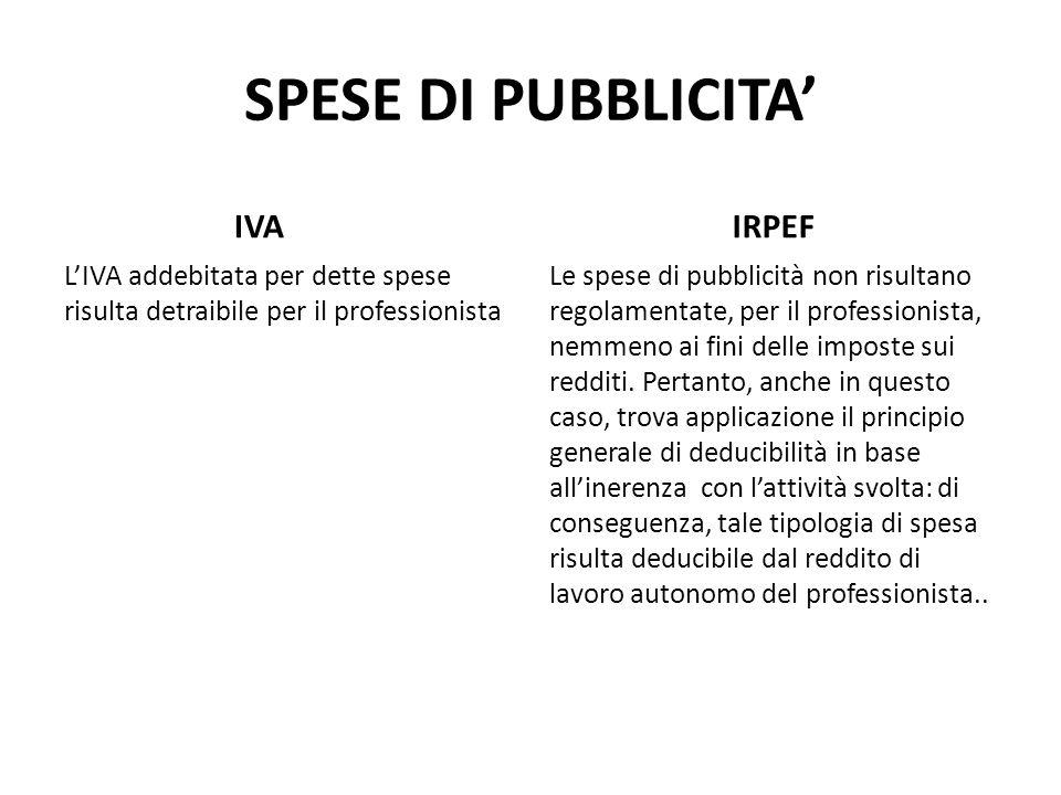 SPESE DI PUBBLICITA' IVA IRPEF