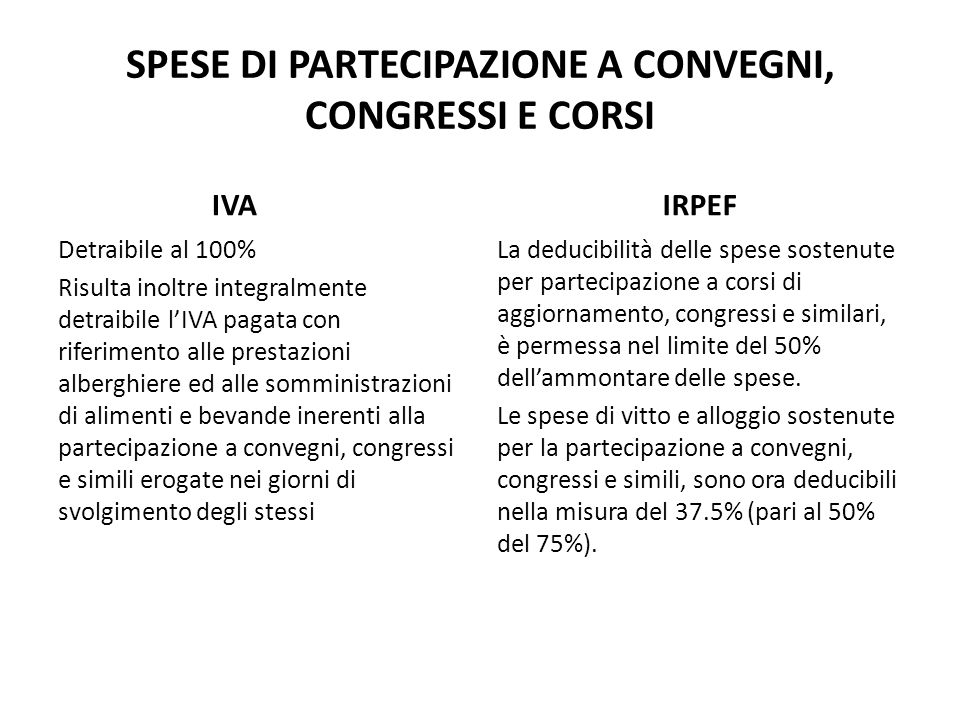 SPESE DI PARTECIPAZIONE A CONVEGNI, CONGRESSI E CORSI
