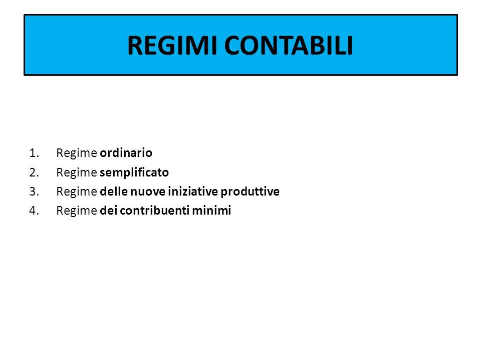 REGIMI CONTABILI Regime ordinario Regime semplificato