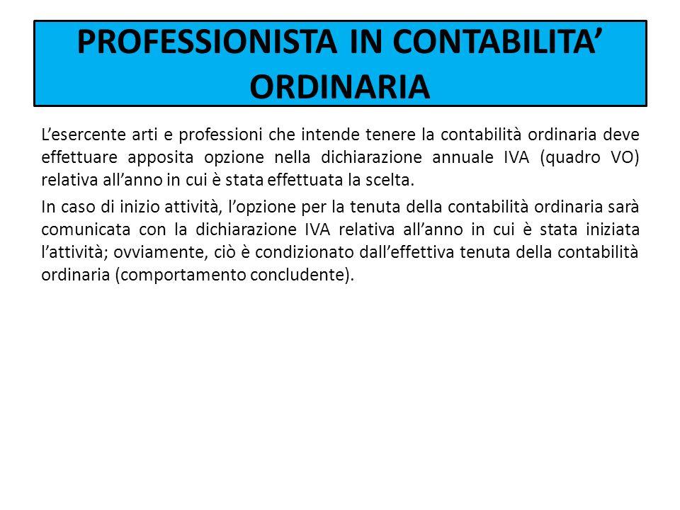 PROFESSIONISTA IN CONTABILITA' ORDINARIA