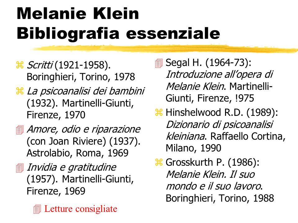 Melanie Klein Bibliografia essenziale