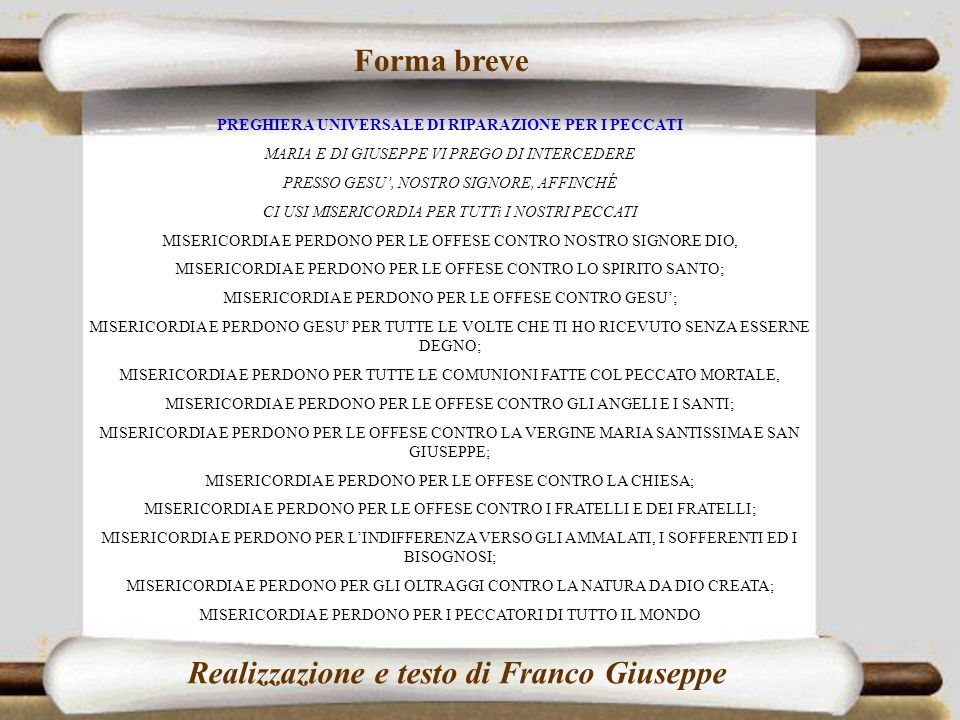 Realizzazione e testo di Franco Giuseppe