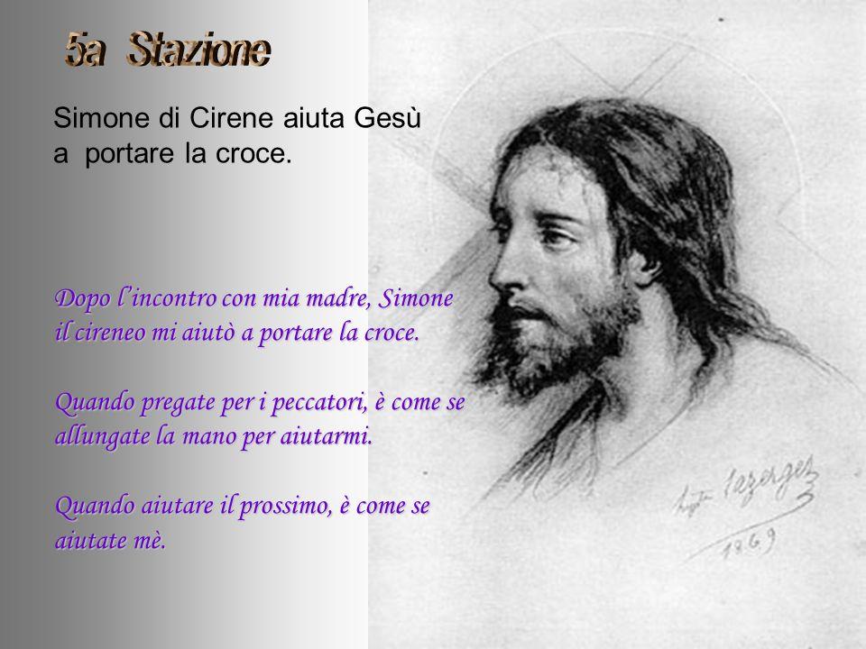 Simone di Cirene aiuta Gesù a portare la croce.