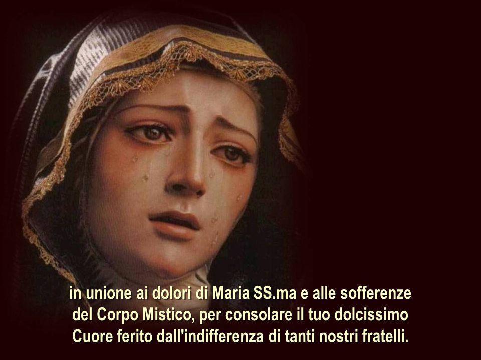 in unione ai dolori di Maria SS.ma e alle sofferenze