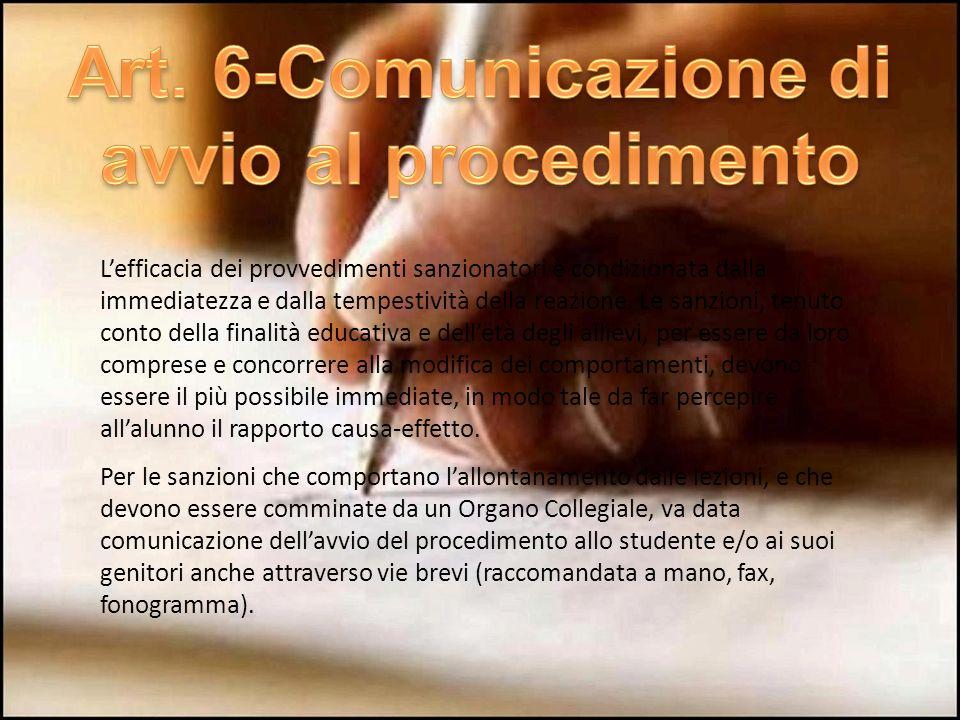 Art. 6-Comunicazione di avvio al procedimento