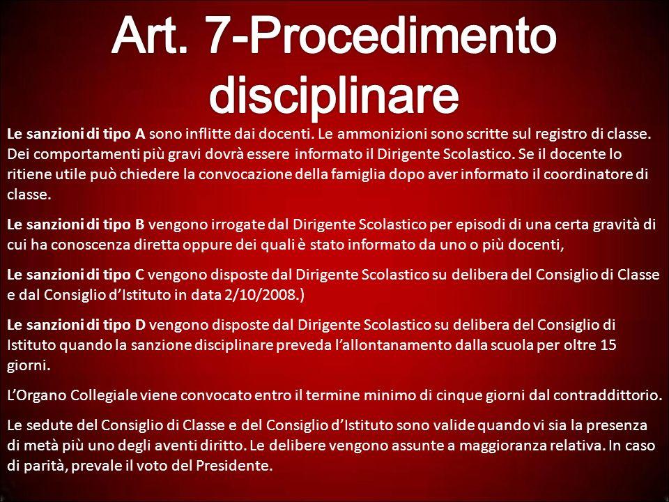 Art. 7-Procedimento disciplinare