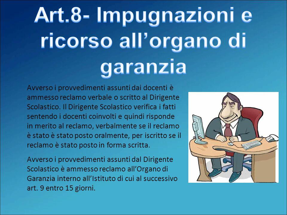 Art.8- Impugnazioni e ricorso all'organo di garanzia