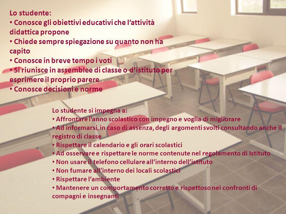 Conosce gli obiettivi educativi che l'attività didattica propone