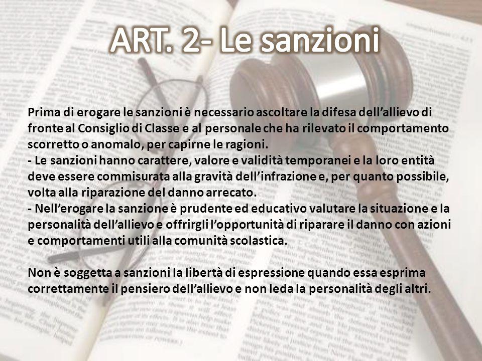 ART. 2- Le sanzioni