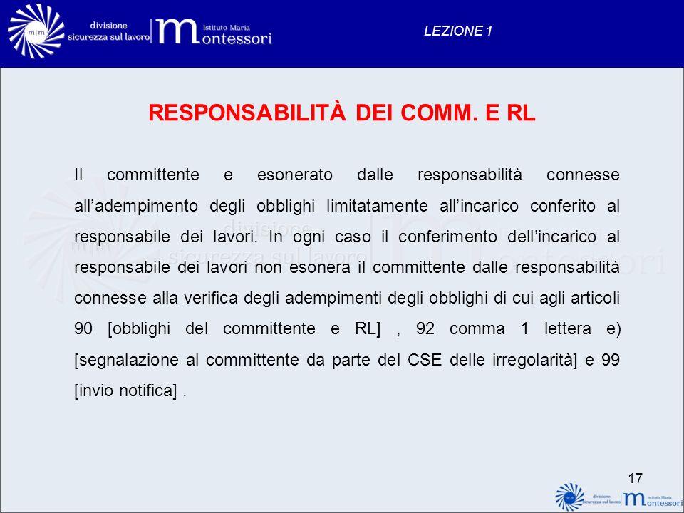 RESPONSABILITÀ DEI COMM. E RL
