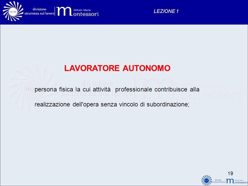 LEZIONE 1 LAVORATORE AUTONOMO.