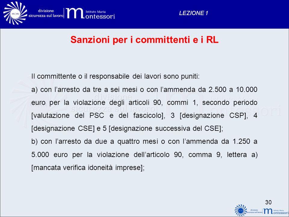 Sanzioni per i committenti e i RL