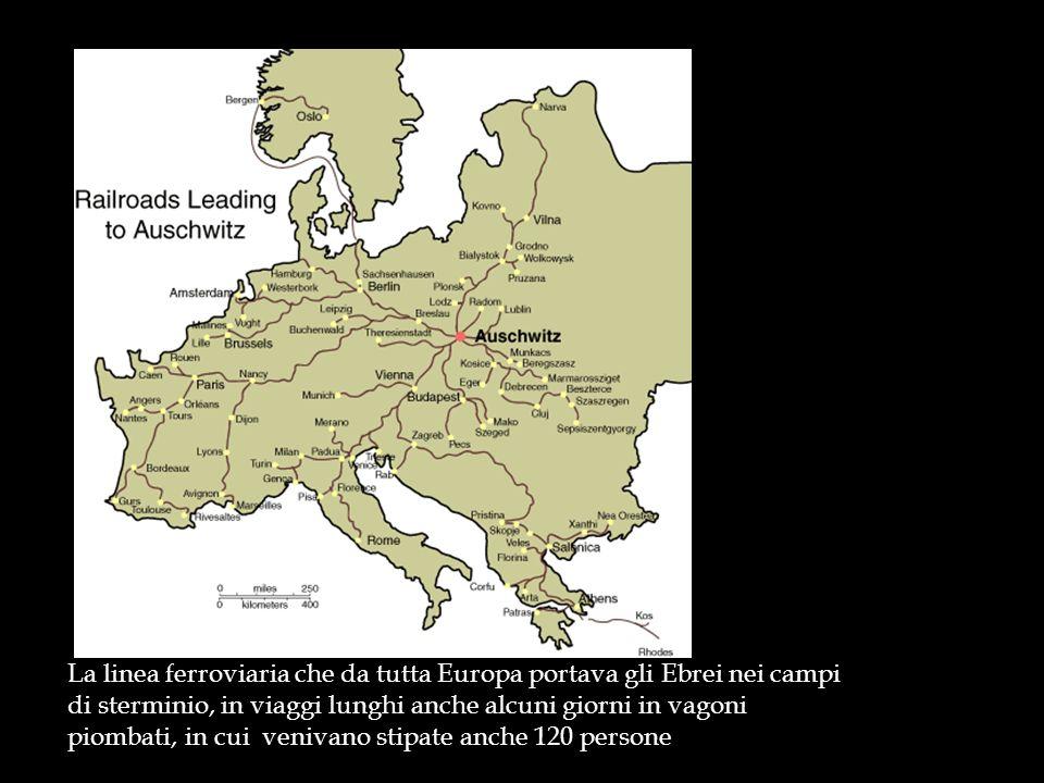 La linea ferroviaria che da tutta Europa portava gli Ebrei nei campi di sterminio, in viaggi lunghi anche alcuni giorni in vagoni piombati, in cui venivano stipate anche 120 persone