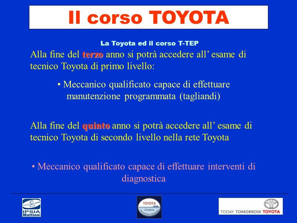Il corso TOYOTALa Toyota ed il corso T-TEP. Alla fine del terzo anno si potrà accedere all' esame di tecnico Toyota di primo livello: