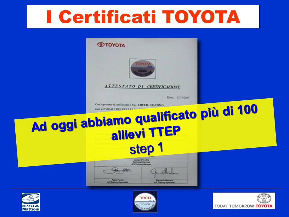 Ad oggi abbiamo qualificato più di 100 allievi TTEP