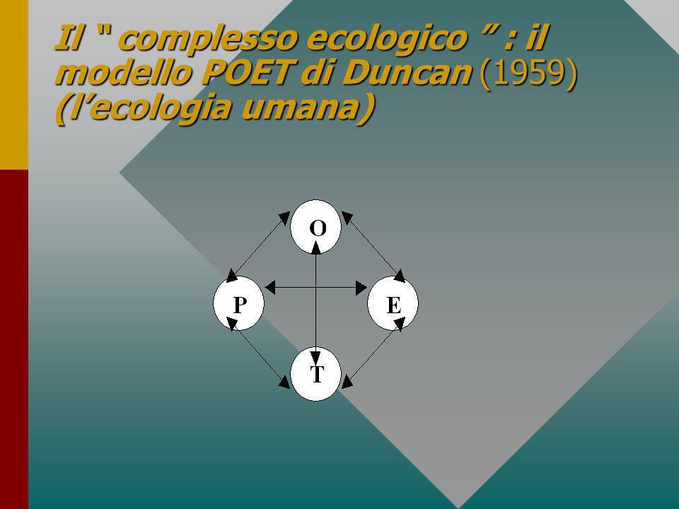 Il complesso ecologico : il modello POET di Duncan (1959) (l'ecologia umana)