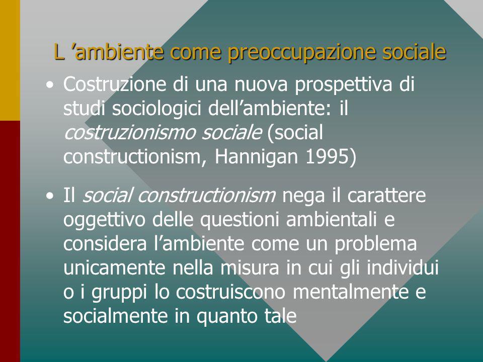 L 'ambiente come preoccupazione sociale