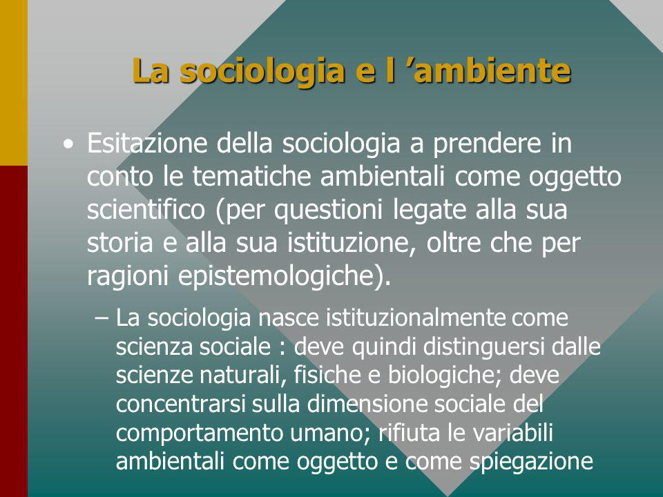 La sociologia e l 'ambiente