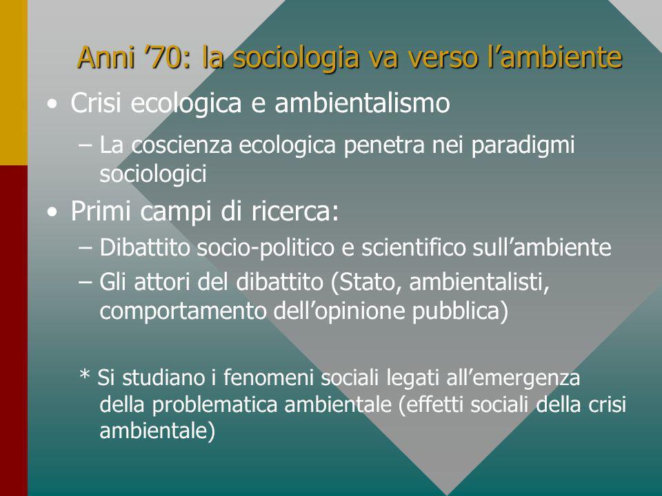 Anni '70: la sociologia va verso l'ambiente